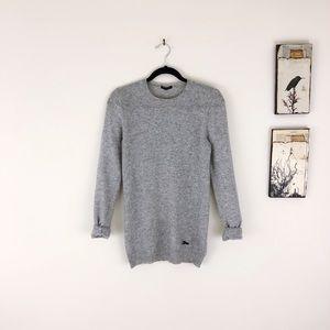 SISLEY Crew Neck Gray Wool Sweater S